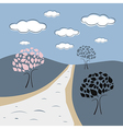 Abstract Nature Scene with Trees Road Hills Clouds vector image