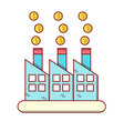 Isolated cartoon blue factory making lots of money vector image