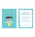 birthday invitation card with cake vector image