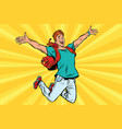 young man jumping for joy vector image