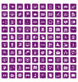 100 database icons set grunge purple vector image vector image