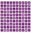 100 dish icons set grunge purple vector image vector image