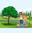a family visiting park on holiday vector image vector image