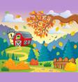 autumn farm landscape 2 vector image vector image