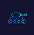 battle tank line icon vector image vector image