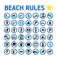 beach rules icons set and sighns on white with vector image vector image