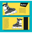 black and white roller skates for aggressive vector image vector image