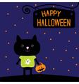Black cat with Halloween pumpkin bucket Stars vector image vector image