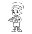 boy baking chocolate cookies bw vector image vector image