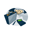 Business Handshake Deal Briefcase Retro vector image vector image