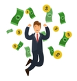 Businessman Success Concept Money and Golden Coin vector image