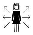 businesswoman options arrows direction choise vector image