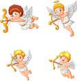 cartoon cupid angel collection set vector image vector image