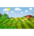 Cartoon farm green seeding field vector image