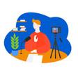cartoon internet blogger recording media content vector image vector image