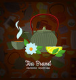 cartoon tea kettles and cups background vector image vector image