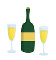 champagne bottle without label and two glasses vector image