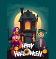 children in monster costumes witch and vector image