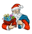 Christmas Cheerful Santa Claus and bag with gifts vector image