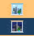 closed windows overlooking vector image