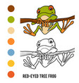 coloring book red-eyed tree frog vector image vector image