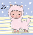 cute cartoon sleeping alpaca on striped background vector image vector image