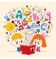cute kids reading book education concept vector image
