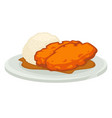 deep fried meat with peanut sauce and rice on vector image vector image