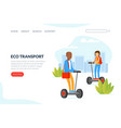 eco transport landing page template people riding vector image vector image
