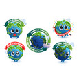 emblems with cute earth cartoon planet character vector image