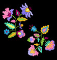 fantasy flowers embroidery pattern set vector image