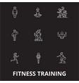 fitness training editable line icons set on vector image vector image