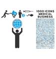 globalist icon with 1000 medical business symbols vector image vector image