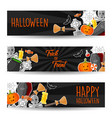 halloween horizontal banners with halloween symbol vector image
