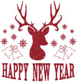 Happy New Year with Christmas Deer vector image vector image