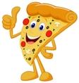 Happy pizza cartoon with thumb up vector image