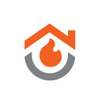house combined with fire logo or icon design vector image