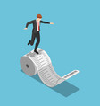 isometric businessman balancing on roll of vector image