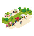 isometric people shopping at farmers market vector image