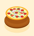 isometric pizza on woodern serving tray flat vector image