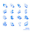 isometric social marketing icons set vector image