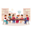 kids in library boys and girls reading vector image