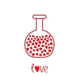 Love round laboratory glass with hearts inside vector image