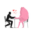 Lover in cafe Man and hot dog is sitting at table vector image vector image