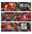 meat and sausage blackboard banner for food design vector image vector image