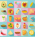 mexican food icon set flat style vector image vector image