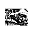 mountain scene with tree and clouds vector image vector image