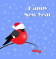 new year greeting card with bullfinches vector image