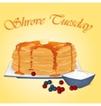 Pancakes with honey butter sour cream and vector image vector image