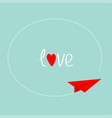 red origami paper plane round dash line frame in vector image